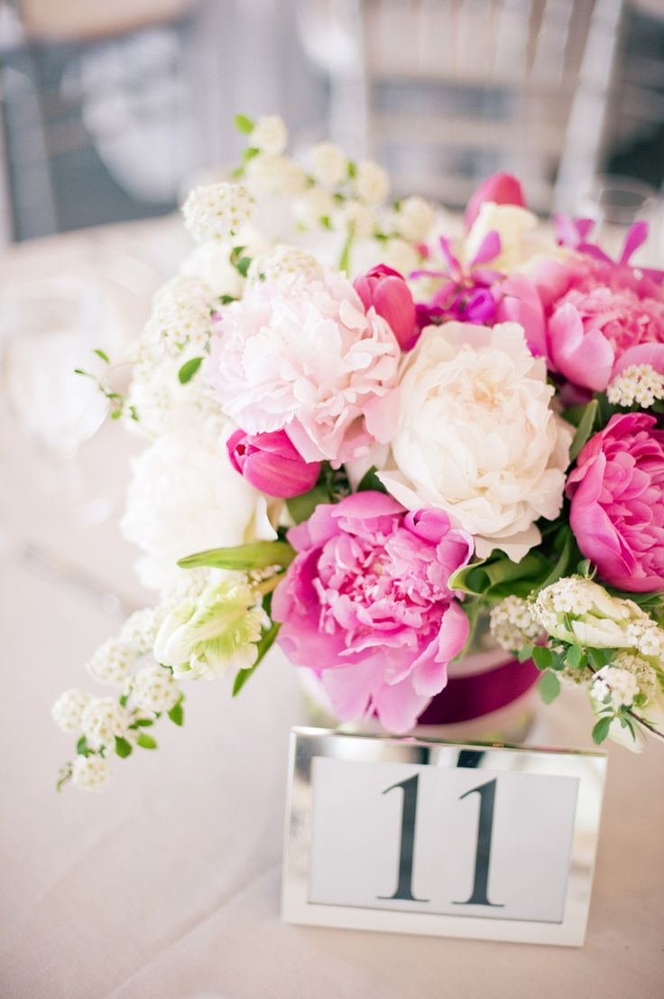 Pink wedding flowers and white