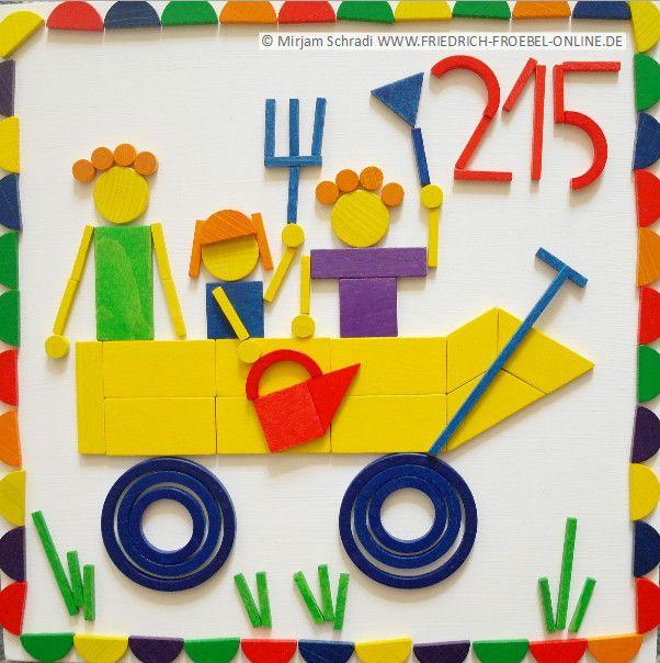 Das ist das Motiv der Sonderbriefmarke zum 175 jährigen Kindergarten Jubiläum. Friedrich Fröbel hat im Juni 1840 den ersten Kindergarten der Welt in Deutschland/ Thüringen gegründet. Von dort ging die Idee um die Welt.  Zum 11. Juni bringt die Post dazu eine Briefmarke heraus. Das Motiv- Kinder in einem Bollerwagen wurde von Lisa Röper gestaltet und hier mit den Spielgaben Fröbels (Legespiele) nachgelegt.