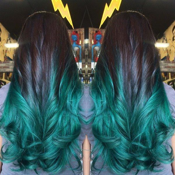 Black to teal green & blue ombre hair color, nice sea green mermaid hairstyle for dark brown long hair~