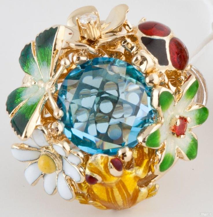 Серьги золотые Roberto Bravo. Золотые серьги с необычным дизайном, авторская работа. Украшены драгоценными камнями и эмалью. В комплекте можно подобрать подвеску и кольцо.
