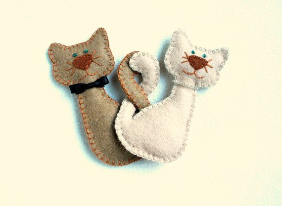 Cat Ornament felt set of 2 Cat Kitty Pussycat by PrettyFeltThings