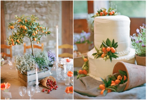 centerpiece + wedding cake