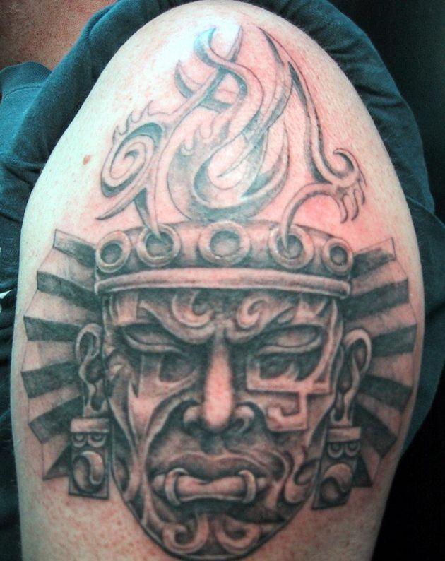 African Warrior Masks Tattoo Aztec sleeve tattoo designs & ideas ...