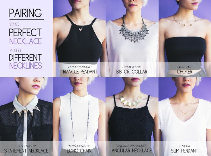 Perfect Necklaces for Different Necklines from The Chriselle Factor. For more about why she paired each necklace with different necklines go to the link for more information. You can find pages of fashion infographics here. For more infographics regarding jewelry lengths and necklines, see below. Necklaces for Different Necklines Created by Imogen Lamport from Inside Out Style. Guide to Women and Men's Necklace Lengths and Guide to Necklace Types and Lengths from Design Thrift.