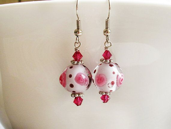 Pink Floral Lampwork Earrings Polka Dot by GlassHouseLampwork