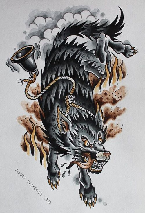 Awesome Wolf with bell drawing                              …