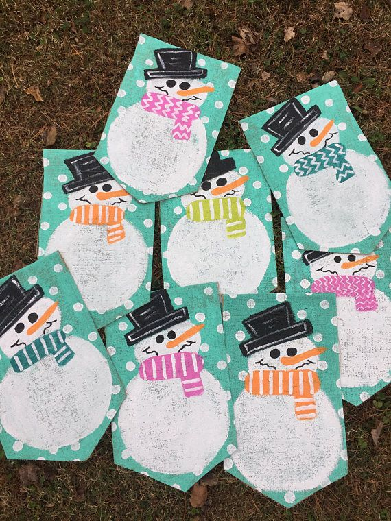 Burlap Snowman with Initial Yard Garden Flag Christmas Winter