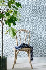 Wallpaper by ellos Tapet Rachel Mintgrønn, Mørk grå, Blå - Mønstrede tapeter | Ellos Mobile