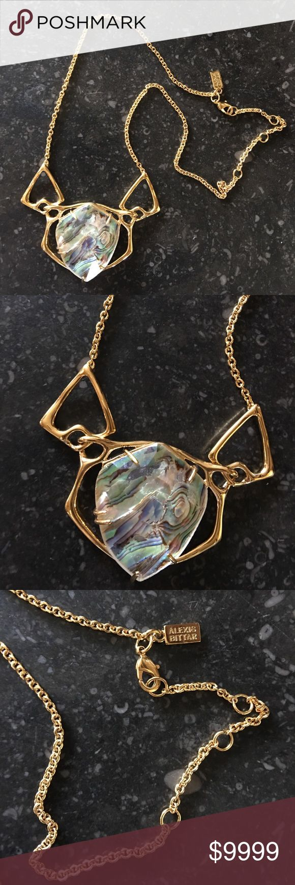 """🔥SALE Alexis Bittar Stone Crystal + Gold Necklace Alexis Bittar Abalone Crystal + Gold Necklace • Pendant is 3""""x1.5"""" • Necklace length is 17"""" with 3"""" extender notches. Brand new! No tags never worn. Please check out my other Alexis Bittar & jewelry items. Bundle & Save! Alexis Bittar Jewelry Necklaces"""