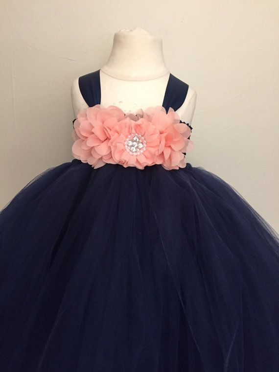 Peach and navy girls tulle dress peach and navy by AnaBeanDesigns