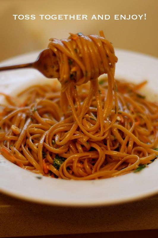 Spicy Thai noodles.. Holy Moly goodness!! made this today... added chicken, peas, toasted sesame seeds, and brocolii... also put a little bit of peanut butter in the sauce..