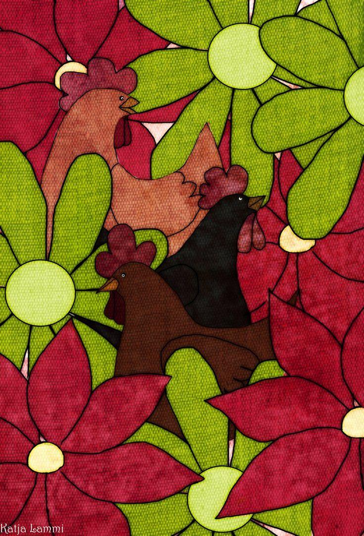 Chickens With Flowers by KatjaLammi