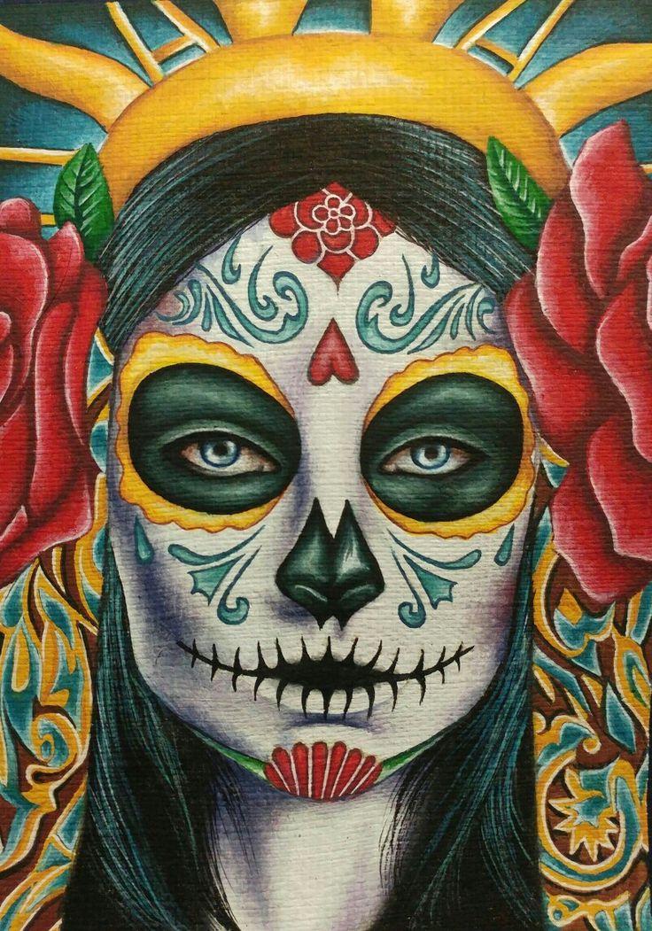 Sugar skull gouache painting