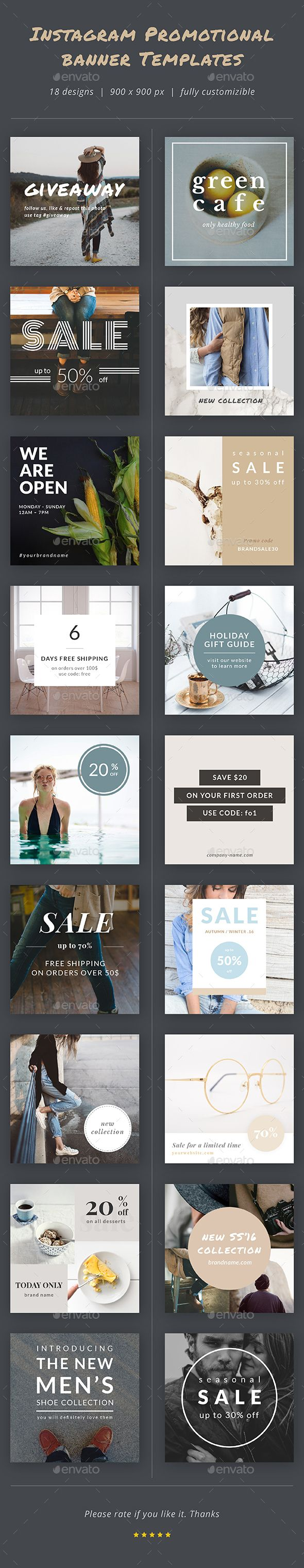 Instagram Promotional Banner Templates  #Instagram Promo #marketing #minimalistic • Available here → http://graphicriver.net/item/instagram-promotional-banner-templates/14270345?ref=pxcr
