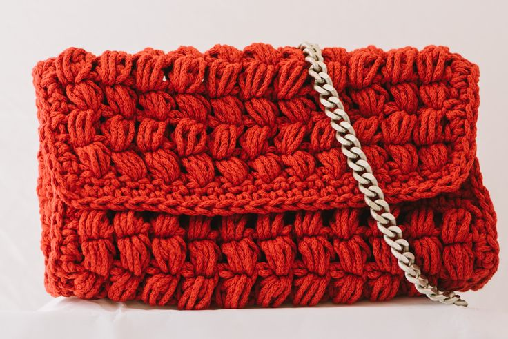 red crochet bag