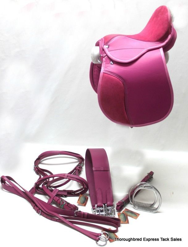 """12"""" Pink Leather and Suede 6 Piece English Saddle Set English Horse Tack"""
