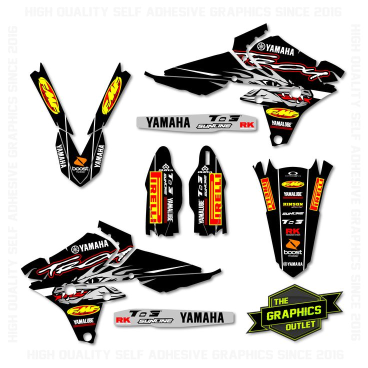 YAMAHA YZF250 / YZF450 2014 -16 - TROY FACTORY REPLICA - SPLIT KIT MOTOCROSS GRAPHICS - BLACK & BLACK VERSION