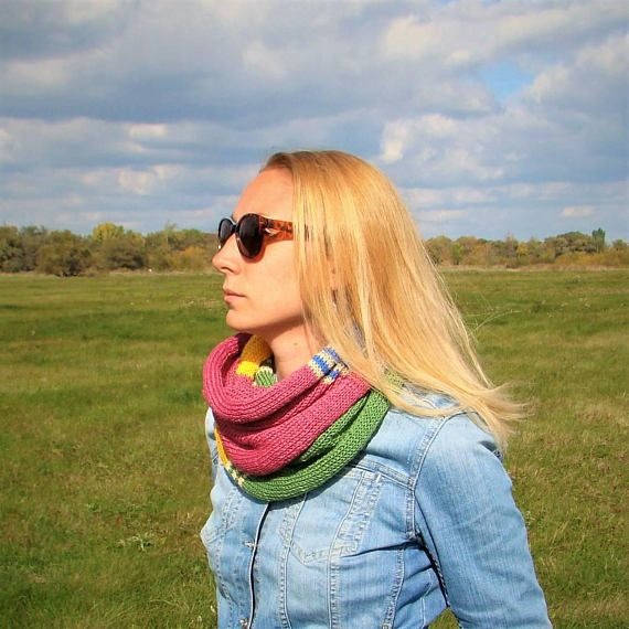 Pink Yellow Blue Green Beige Long Shawl / 100% Cotton Hand