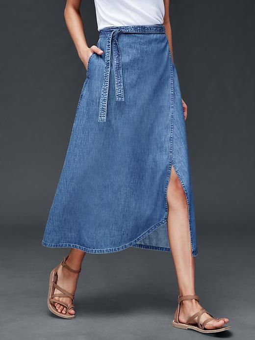 1969 denim wrap skirt
