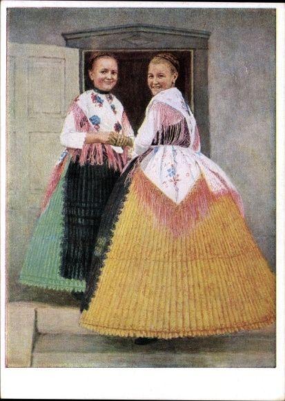 Künstler Ansichtskarte / Postkarte Rezlaff Hans, Banater Schwaben, Bauernmädchen in Tanztracht aus Guttenbrunn