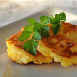 "Cheesy Potato Pancakes | ""These are a huge hit with my three boys! They travel well wrapped in foil for the lunch box."""