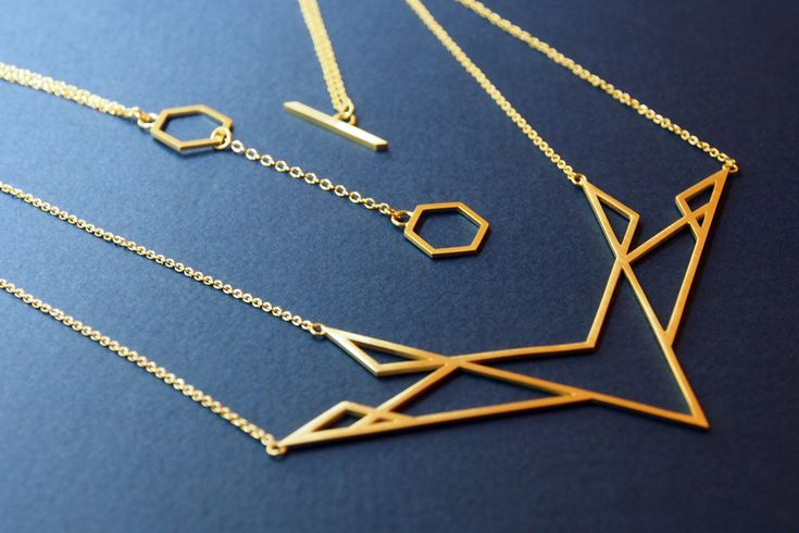 Isometric necklace, sterling silver, 18 carat gold plate