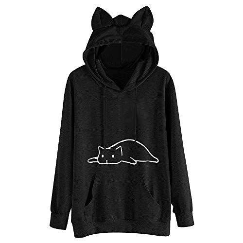 Women Cat Printing Long Sleeve Pullover Shirts Tops Blouse Hooded Sweatshirt Black