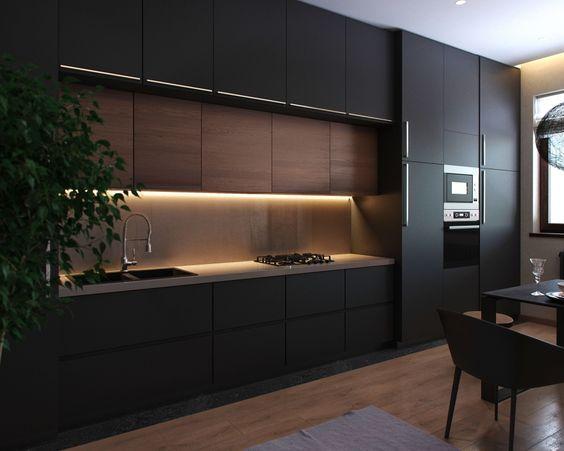 Schwarze Wohnung & schwarze Küche