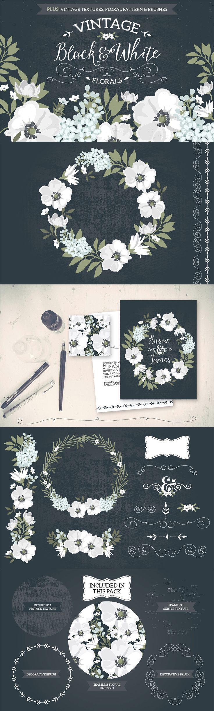 Vintage Black & White Florals by Lisa Glanz | The Comprehensive, Creative Vectors Bundle Mar 2015 from Design Cuts