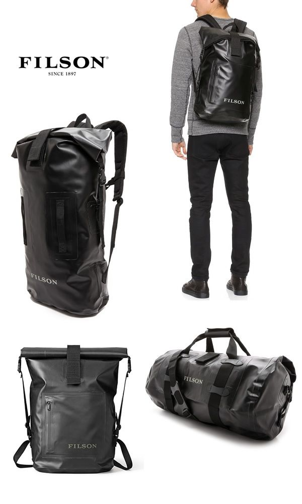 """Filson's new """"dry day"""" backpacks & duffels. Seals at the top for waterproof protection, modern black vinyl finish."""