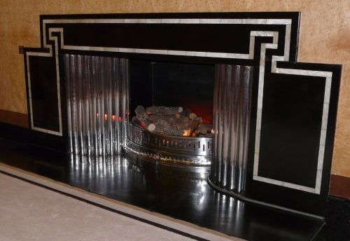 The Art Deco Fireplace in the Dining Room, Eltham Palace, Greater London