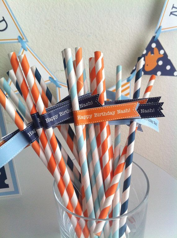 Little Goldfish Party Theme Orange and Navy blue Straw Flags Instant DIGITAL DOWNLOAD on Etsy, $2.50
