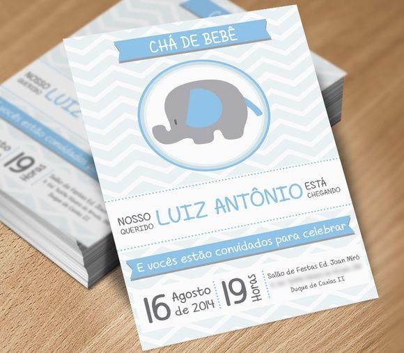 Convite - Tema Elefantinho Zig Zag