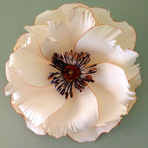 Tiger Flower (imported French paper, archival glue, watercolor – 8″ in diameter)