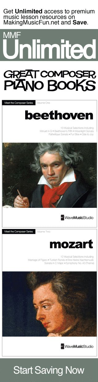 Get Unlimited great composer piano books (digital print) with MMF Unlimited and Save. MMF Unlimited gives you instant access to every music education resource on MakingMusicFun.net for one year at a great price.