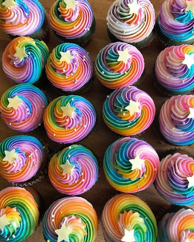 Good Morning ✨ Swirly Rainbow Cupcakes to go with a Lisa Frank birthday cake order (that's coming next) for a customer @hellaveganeats #vegan #vegancake #cupcakes #vegancupcakes #instadaily #vegansofig #veganfood #veganfoodshare #rainbow #rainbowcake #rainbowfood #rainbowswirl #pretty #lisafrank #ashleyshotwell #hellaveganeats