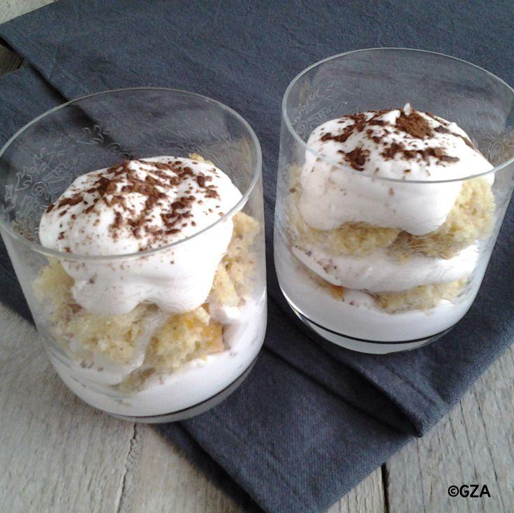 Tiramisu in een glaasje. #lactosevrij #koemelkvrij #sojavrij #fructosearm