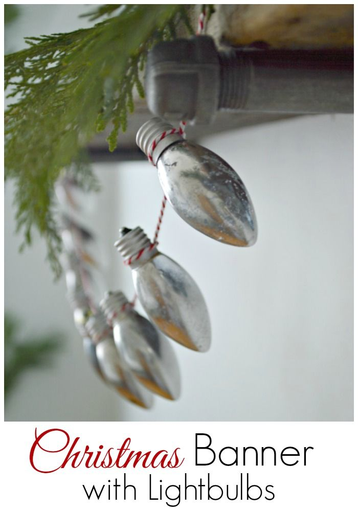 How to make a Christmas banner made with lightbulbs and baker's twine. | chatfieldcourt.com
