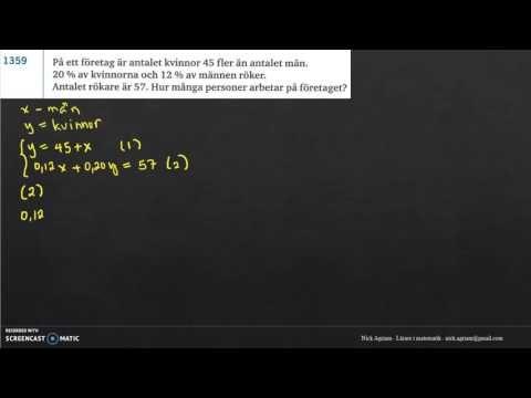 Genomgång av Matematik 5000 Ma 2c   Kapitel 1   Ekvationssystem   Tilläm...