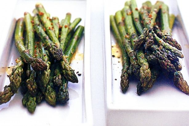 Your guests will be delighted with these spears of crunchy asparagus dipped into tangy mustard vinaigrette.
