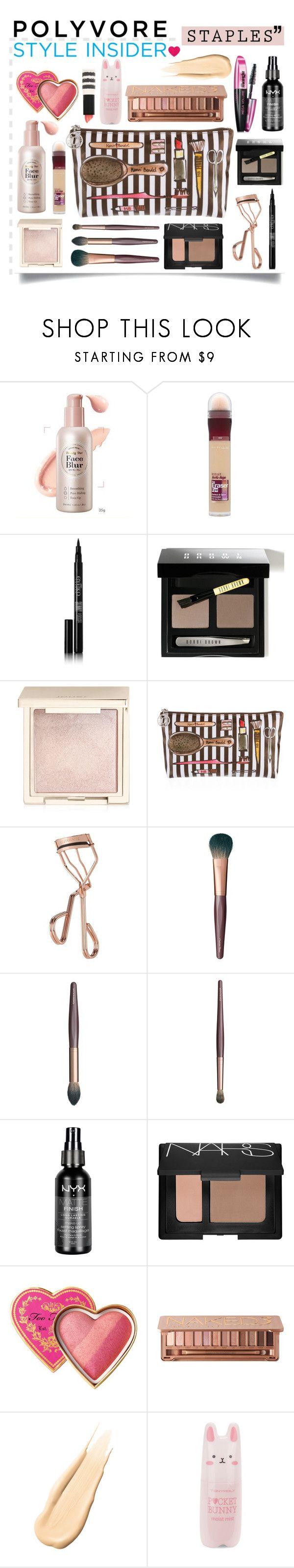 """makeup staples"" by emyemoemu ❤ liked on Polyvore featuring beauty, Maybelline, Eyeko, Bobbi Brown Cosmetics, Jouer, Henri Bendel, Tweezerman, Charlotte Tilbury, NYX and NARS Cosmetics"