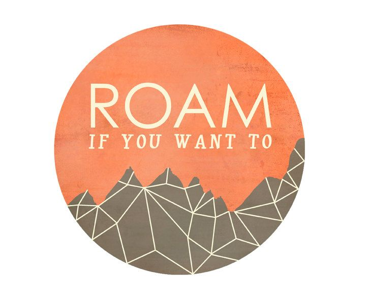 Roam If You Want To modern art print / circle art, faceted geometric mountain / wanderlust, adventure / unisex / tangerine gray grey. $19.00, via Etsy.