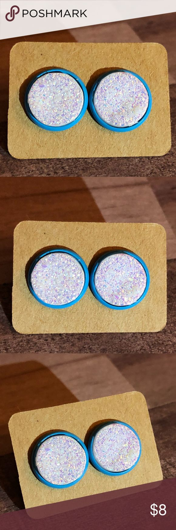 "🆕Sparkling White Ore Druzy Sky Blue Earrings! New, Handmade by Me! 🆕Style! Ore Druzy, Rough, Uneven Surface; 1/2"" Diameter, 12mm; Sparkling White Opal Druzy Stone on Sky Blue Post Back for Pierced Ears! 🎀MANY Colored Back Earrings to Choose from! Can put ANY Stone in ANY Style Back!🎀📸My pic's Of Actual Items you will receive!  ▶️Part of 3 for $15 Deal! Bundle & Save! • Druzy Stud Earrings for pierced ears • Nickel, Lead & Cadmium Free  *NO TRADES *Price is FIRM as Listed!  *Sales are…"