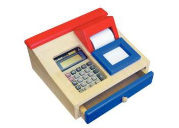 Encourage learning through play with this wooden cash register.