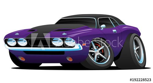 Classic Muscle Car Hot Rod Cartoon Illustration Car Toons In 2019