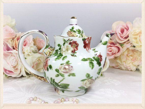 Royal Danube Gold Garden Floral Teapot Coffee Pot England For