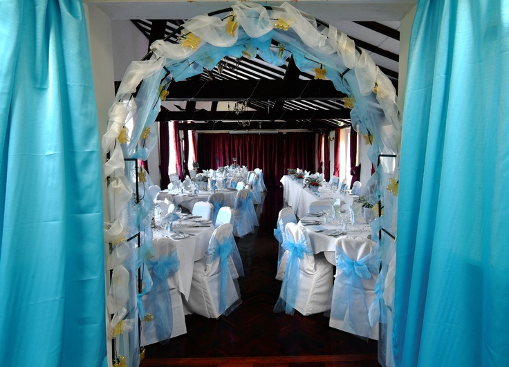 Turquoise Organza Bows on White Chair Covers