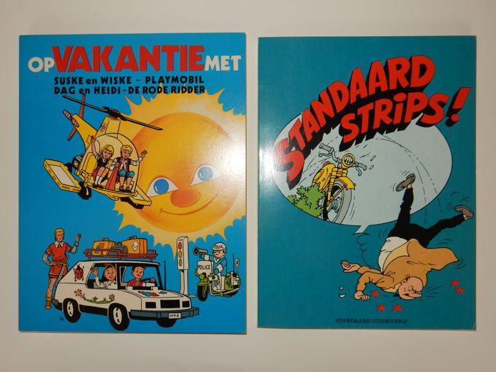 Suske en Wiske - Op Valkantie met  Standaard Strips - 2xsc - 1e druk (1980/1983)  Twee verzamelbundelingen van Standaard uitgeverij :1. 'Op vakantie met' uit 1980 met daarin een verhaal van Suske en Wiske De Rode Ridder en Dag en Heidi.Exclusief gerealiseerd voor Playmobiel.2.Standaard Strips uit 1983 gerealiseerd voor de winnaars van de wedstrijd 'Met Suske en Wiske door Nederland en België juni-oktober 1983'.Met daarin Suske en Wiske Tits en Dag en Heidi.Twee softcovers in nieuwstaat.  EUR…