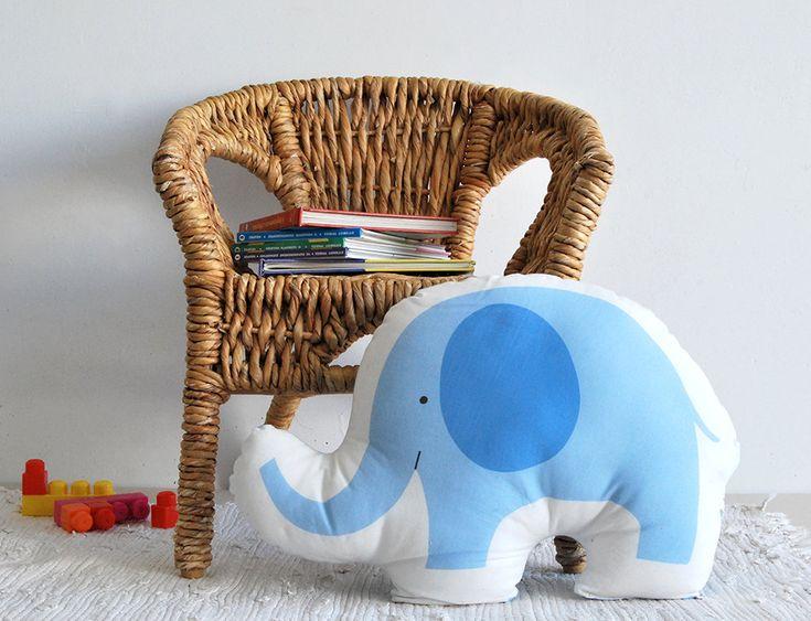 Blue elephant soft stuffed animal, cotton pillow, stuffed toy, Decorative Children pillow, kids toy, baby deco baby room, nursery room