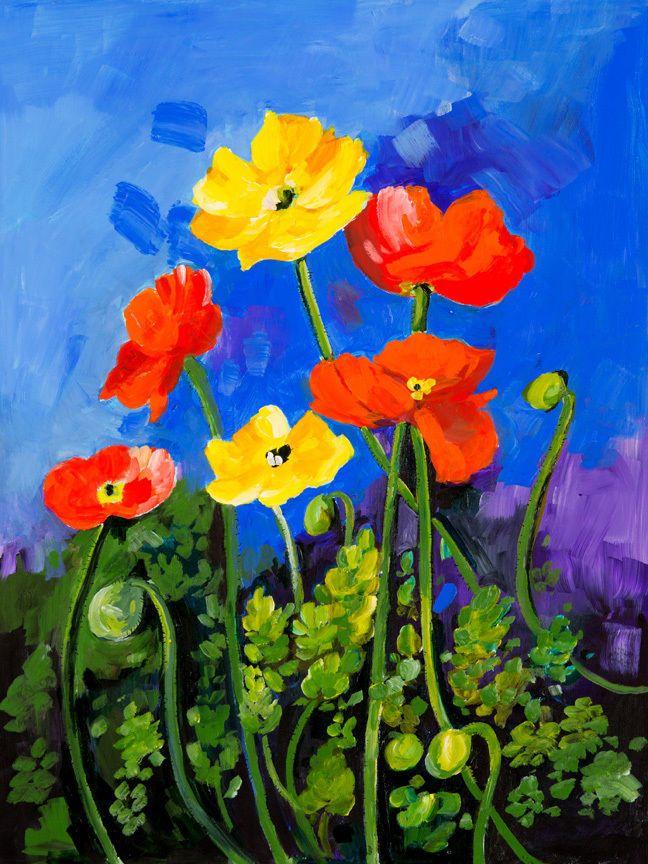 CANVAS Icelantic Poppies Painting Art Gallery Wrap by Elizabeth Stacke #ArtDecor #buyartforless